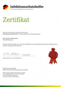 Infektionsschutzhelfer Zertifikat Carsten Plückhahn